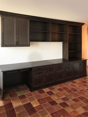 living room wall unit work space