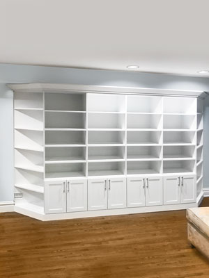 basement wall unit with corner shelves