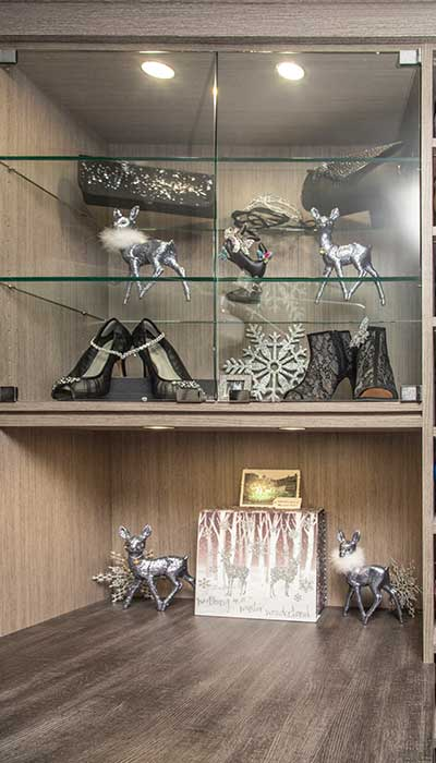 glass cabinet for purse storage