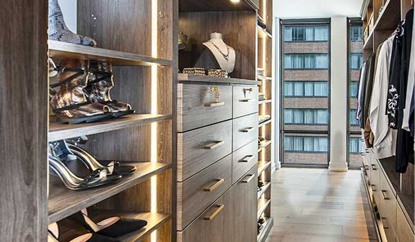 Elegant galley style walk-through closet