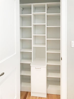 pantry with trash bin pull-out
