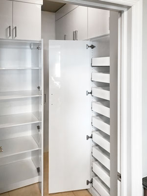 high gloss pantry closet with pull-out shelves