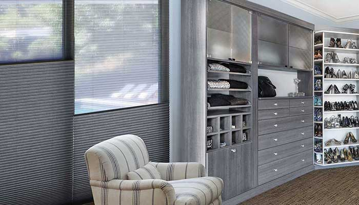 Duette honeycomb shades with Duolite window treatments in Closet dressing room