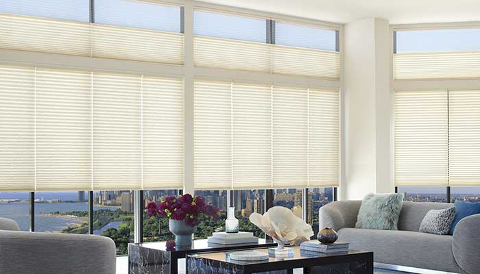 Duette honeycomb shades with Duolite window treatments in Chicago