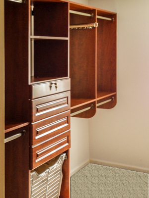 corretto cherry closet with harmony drawers