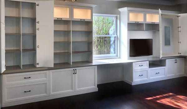 Entertainment Center with Glass Doors and LED Lights
