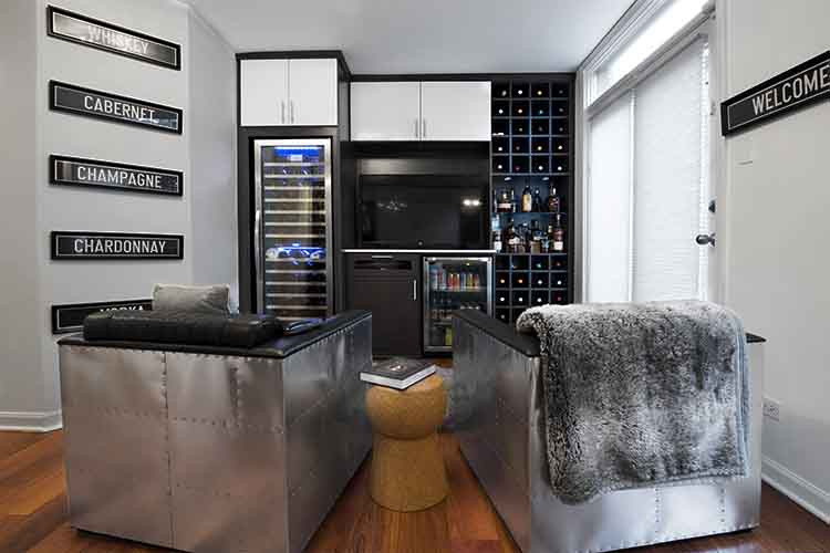 den with media center and wine storage