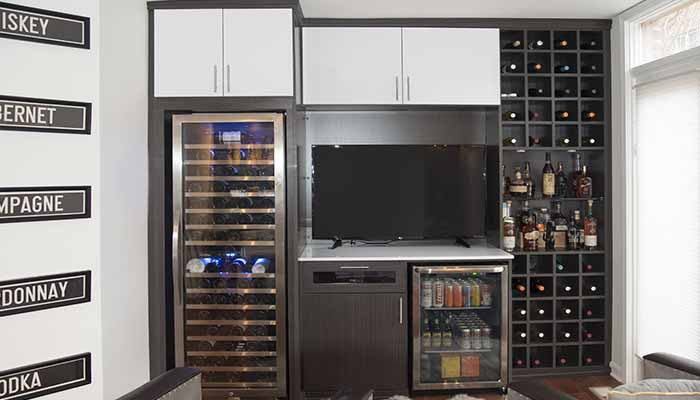 Media center and wine wall
