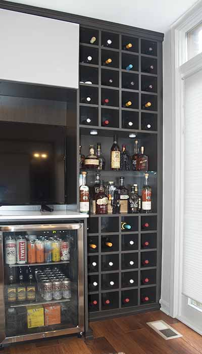 wine cubbies and beer refrigerator