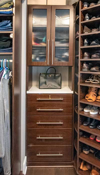 closet purse organizer ideas with semi transparent glass cabinet doors