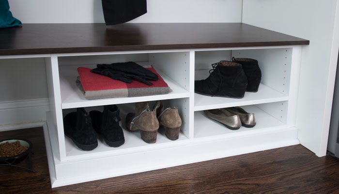 mud room bench with shoe storage space