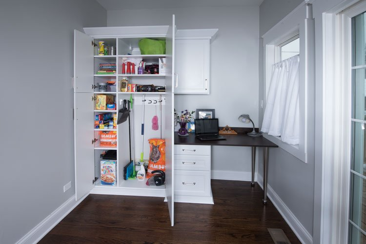 utility storage and desk space