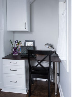 Home office space built into mud room