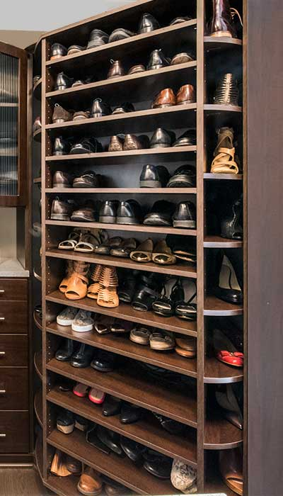 360 Organizer rotating shoe tower for maximum shoe organization and shoe storage