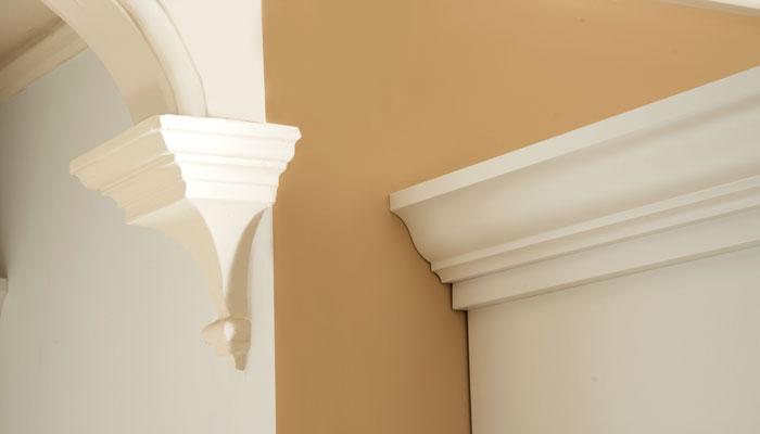custom crown on standing closet matches corbels