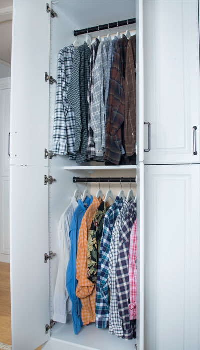 his side of armoire with hanging space
