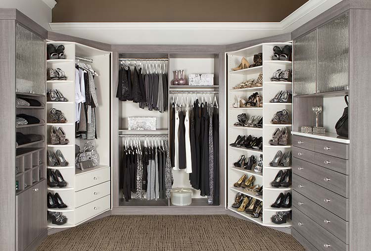 walk-in closet in Breakwater thermally fused laminate with 360 Organizer