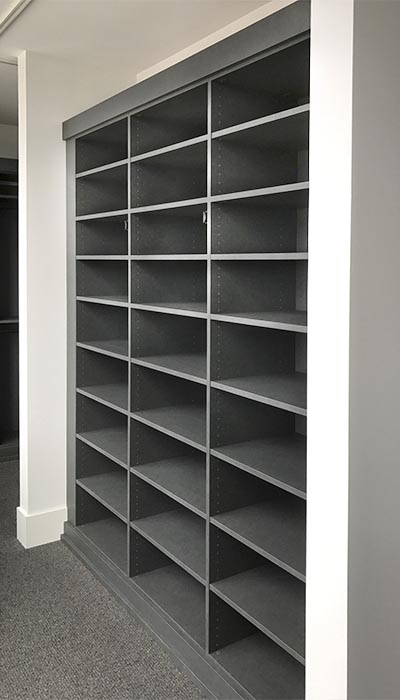 closet shoe shelves in chino thermally fused laminate - TFL