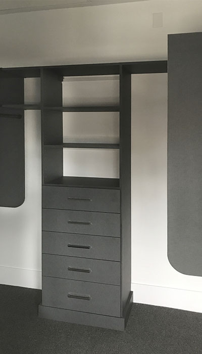 walk in closet organization system in chino thermally fused laminate - TFL