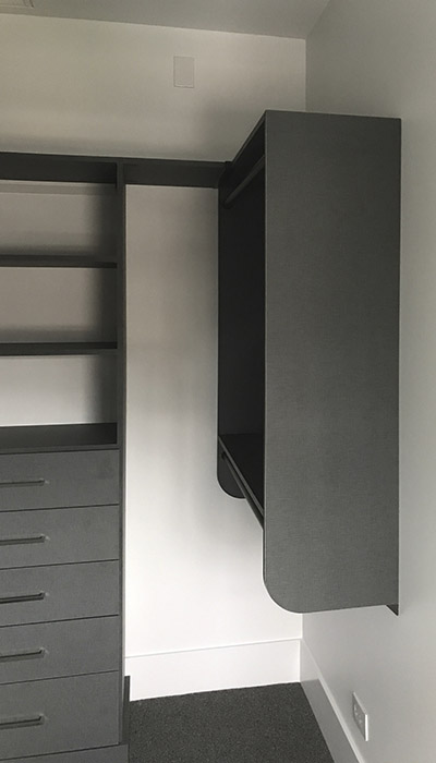 custom walk in closet hutch and hanging in chino thermally fused laminate - TFL