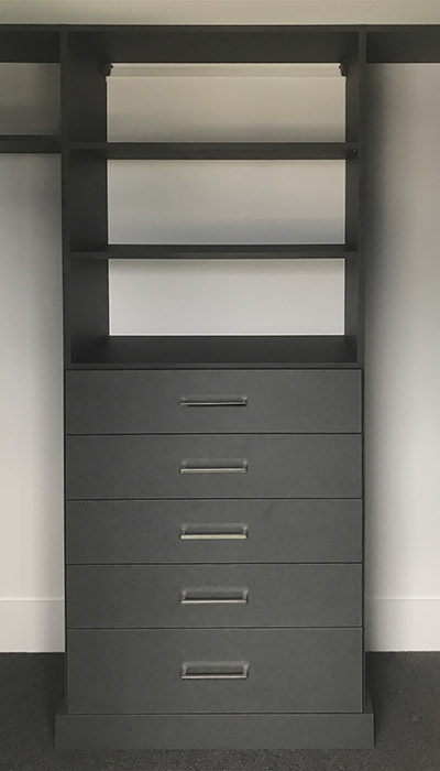 custom walk in closet hutch in chino thermally fused laminate - TFL