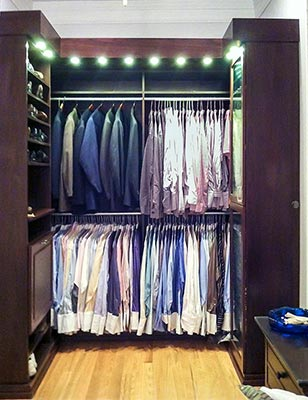 wardrobe style master closet design with all the closet organizer bells and whistles