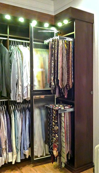 left side storage for open closet ideas