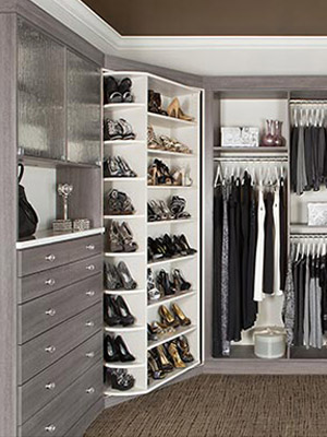 master closet design with two 360 Organizer closet systems