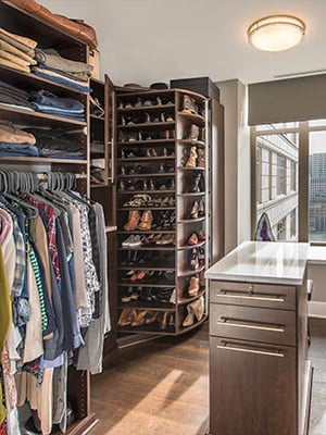 master closet design for a small walk-in closet