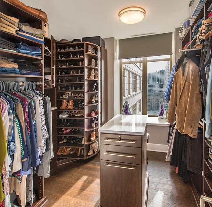 Closet center island and 360 Organizer Shoe Spinner for condo closet