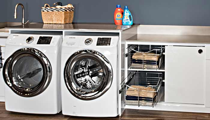 Pull-out wire baskets can be used as laundry organizers