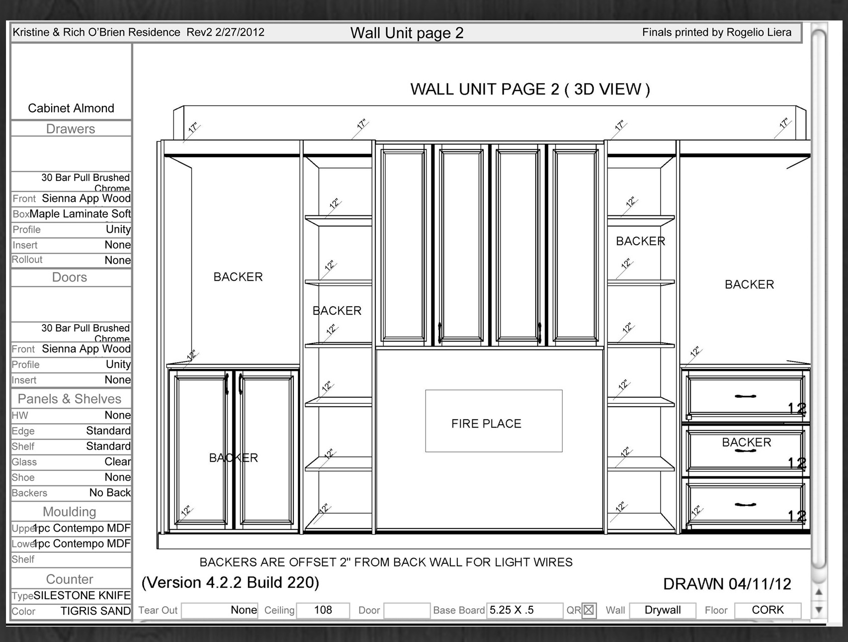 media center and fireplace surround design solution blueprint drawing