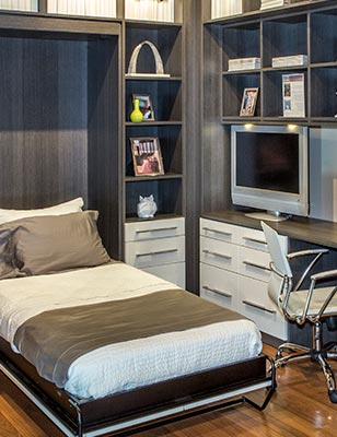 Murphy style wall bed converts home office into a guest room