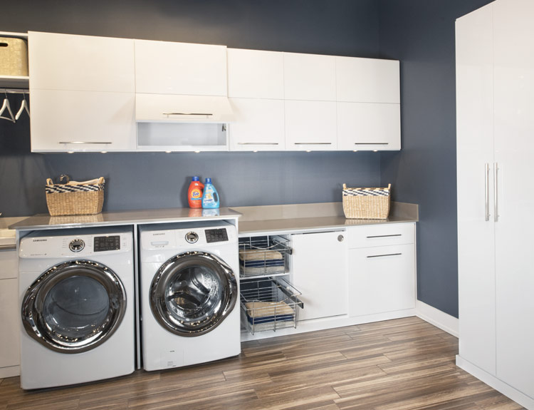 Modern Laundry Room Design maximizes Storage Space