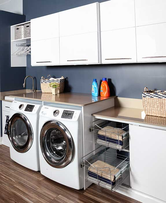 Basement laundry room.