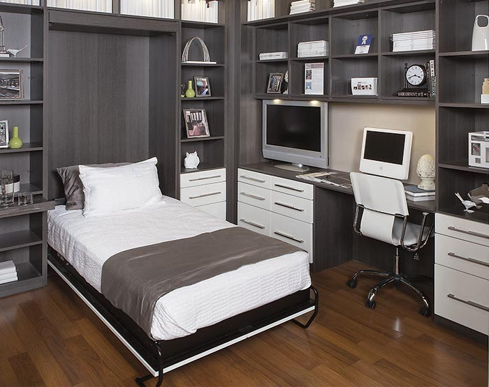 Wall bed and surround for home office guest room combination in Queenston Oak thermally fused laminate - TFL