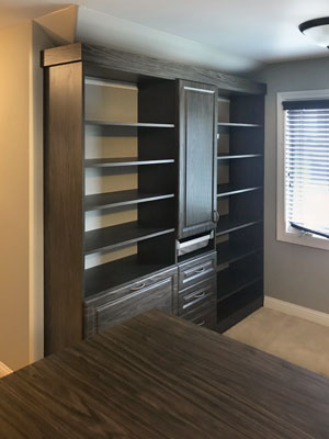 wall unit in premium closet for sloped ceiling room