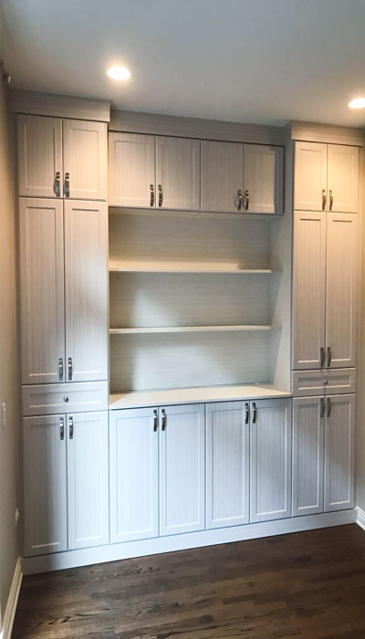 custom wall unit organization system in White Chocolate thermally fused laminate - TFL