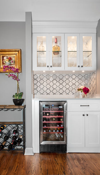 Custom wine bottle storage for with counter for decanting wine