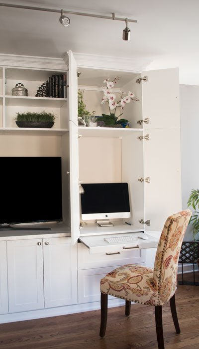 Multifunctional Media Center Wall Unit With Desk