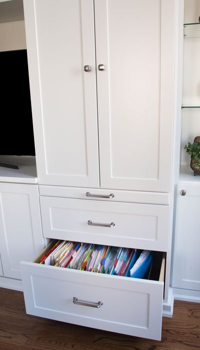 drawer for files below pull-out desk