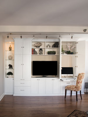 multifunction wall unit with hidden desk