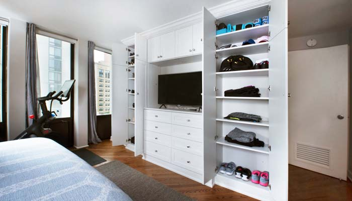 bedroom wardrobe storage with shelving for active lifestyle