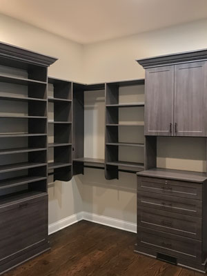 walk in closet in breakwater laminate