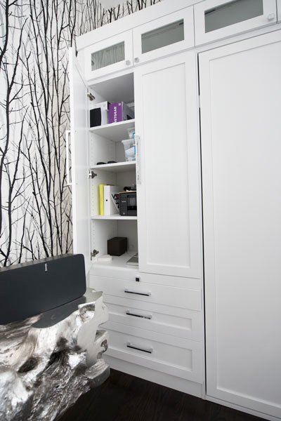 murphy bed design includes wall storage for guest room and home office