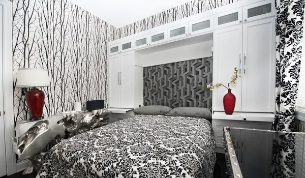 modern bed design with wall storage