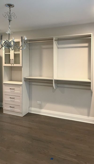 custom master closet in White Chocolate thermally fused laminate - TFL