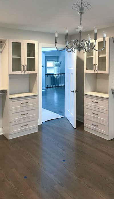 custom walk-in closet organization system in White Chocolate thermally fused laminate - TFL