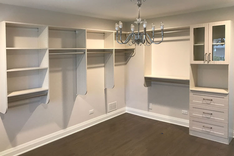 custom walk-in closet in White Chocolate thermally fused laminate - TFL