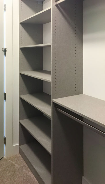 walk in closet shelving in frequency thermally fused laminate - TFL